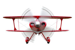 Red biplane flying isolated Royalty Free Stock Image