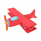 Red biplane icon, cartoon style Stock Photography
