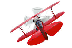 Red biplane rear view isolated Stock Photo