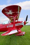 Red Biplane wing view Stock Images