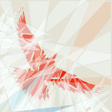Red bird. Editable vector illustration of a flying red bird as if seen through shattered glass Royalty Free Stock Photo