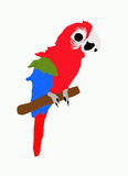Red bird. A big red parrot on white Stock Illustration