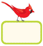 Red bird with blank sign Stock Image