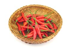 Red Bird Chilli in a Rattan Basket Royalty Free Stock Photos