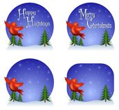 Red Bird Christmas Backgrounds. Your choice of Christmas backgrounds featuring red bird flying and 'Happy Holidays', 'Merry Christmas' or blank versions Stock Images