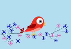 Red bird and flowers Stock Photos