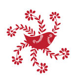 Red bird with flowers Stock Photo