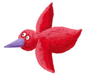 Red bird flying Stock Photo
