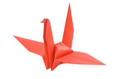 Red bird made from paper stock image