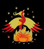 Red a bird a phoenix. In a fiery tuft. Illustration Stock Image
