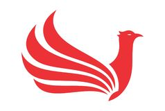 Red bird phoenix wings logo. Vector dsign concept Stock Image