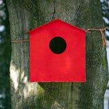 Red birdhouse against beech tree Stock Photos