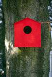Red birdhouse against beech tree Royalty Free Stock Photo
