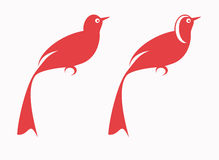 Red Birds. Two red birds in vector illustration Stock Photography
