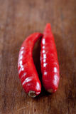 Red birds eye chilli, popular in Thai and Asian di Stock Images