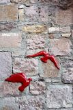Red birds on stone wall Stock Photo