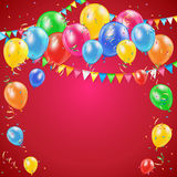 Red Birthday background. With colorful balloons, pennants and confetti, illustration Stock Photography