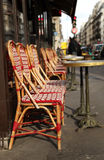 Red bistro chair in Paris Stock Images