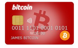 Red bitcoin credit or debit card. Supporting wireless payments with the popular cryptocurrency Stock Images