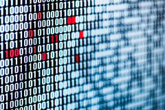 Red bits - data corruption - bit sequence - screen Stock Photos