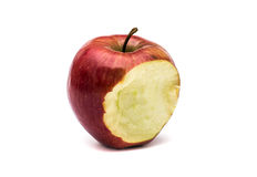 Red bitten apple. A bitten apple on white background Stock Image