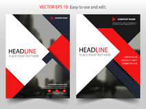 Red black abstract annual report brochure flyer design template vector Royalty Free Stock Image