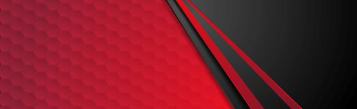 Red and black abstract corporate banner design. With hexagons texture. Vector technology background vector illustration