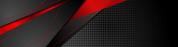 Red and black abstract corporate banner design. Vector technology background royalty free illustration