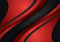 Red and Black abstract curve and wavy background. For card, annual business report, poster template vector illustration