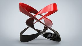 Red and black abstract ribbon sculpture. In studio Royalty Free Stock Photography