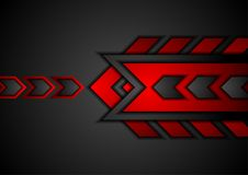 Red and black abstract technology background with arrows. Red and black contrast abstract technology background with arrows. Vector corporate design Stock Images