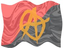 Red and Black Anarchy Flag. The red and black anarchy flag with yellow symbol fluttering royalty free illustration