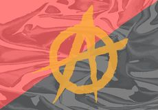 Red and Black Anarchy Flag. The red and black anarchy flag with yellow symbol stock illustration