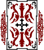 Red and black ancient vintage ornament on white background in style of crusader war shield. With a cross. Vector illustration Stock Image