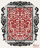 Red and black ancient vintage ornament on white background Royalty Free Stock Photo