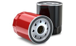 Red and black automobile oil filter. 3D render, isolated on white background Stock Photography