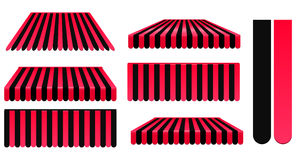 Red and black awnings. Set isolated on white vector illustration