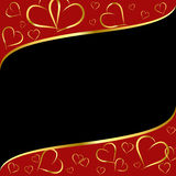 Red-black background with golden hearts contour Royalty Free Stock Photography