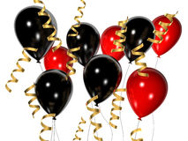 Red and black balloons. 3d rendered illustration of red and black balloons with golden ribbons Royalty Free Stock Photo