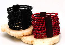 Red and black beaded bracelets Stock Photography