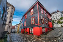 Red and black beauty parlor in Bergen city centre Royalty Free Stock Images