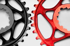 Red and black Bicycle chainrings Stock Photo