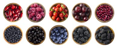 Red and black-blue food. Berries and fruits isolated on white background. Collage of different fruits and berries at green and red stock images