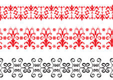 Red and black borders. Red-black floral borders with snowflakes Royalty Free Stock Image