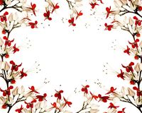 Red and black butterfly flower frame Stock Photo