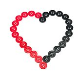 Red and black button heart - love sewing Stock Photos
