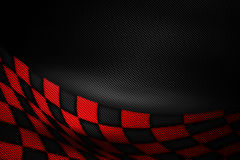 Red and black carbon fiber background. Checkered pattern. 3d illustration material design. sport racing style stock illustration
