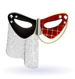 red-black carnival mask with veil Stock Photography