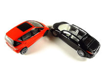 Red and black cars. Make a corner on white background Royalty Free Stock Images
