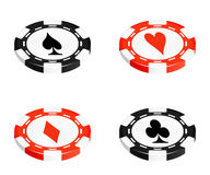 Red and black casino chips isolated on white Royalty Free Stock Images
